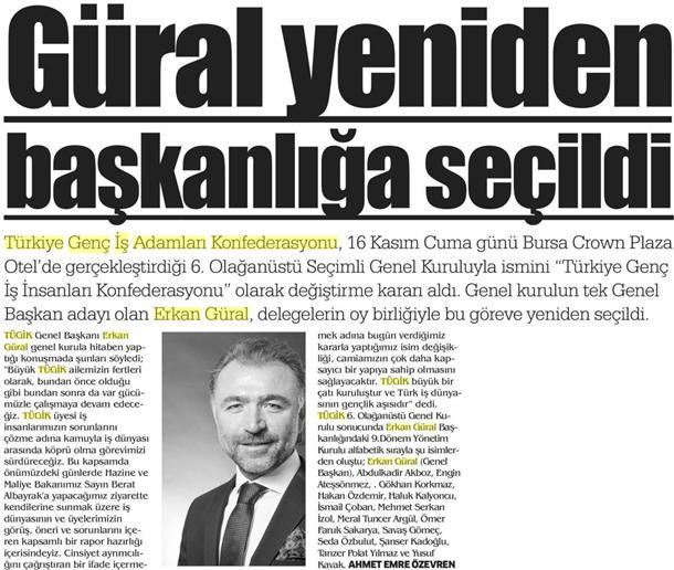 Erkan GURAL yeniden TÜGİK başkanlığa seçildi