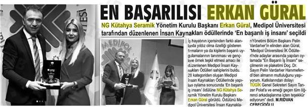 Erkan Güral'a  En Başarılı İş İnsanı  Odülü